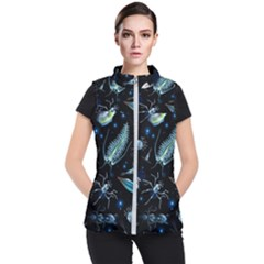 Colorful Abstract Pattern Consisting Glowing Lights Luminescent Images Marine Plankton Dark Background Women s Puffer Vest by BangZart