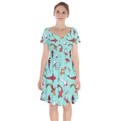 Pattern With Koi Fishes Short Sleeve Bardot Dress by BangZart