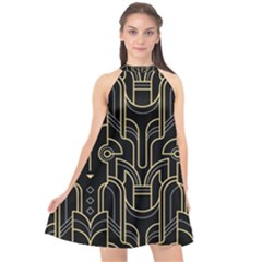 Art Deco Geometric Abstract Pattern Vector Halter Neckline Chiffon Dress  by BangZart
