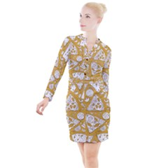 Vector Seamless Pizza Slice Pattern Hand Drawn Pizza Illustration Great Pizzeria Menu Background Button Long Sleeve Dress