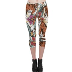 Natural Seamless Pattern With Tiger Blooming Orchid Capri Leggings