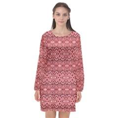 Pink Art With Abstract Seamless Flaming Pattern Long Sleeve Chiffon Shift Dress