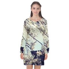 Plum Blossoms Long Sleeve Chiffon Shift Dress  by okhismakingart