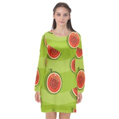 Seamless Background With Watermelon Slices Long Sleeve Chiffon Shift Dress