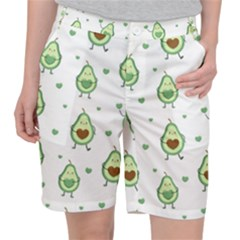 Cute Seamless Pattern With Avocado Lovers Pocket Shorts by BangZart