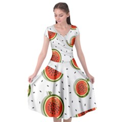 Seamless-background-pattern-with-watermelon-slices Cap Sleeve Wrap Front Dress by BangZart