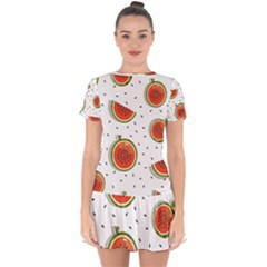 Seamless-background-pattern-with-watermelon-slices Drop Hem Mini Chiffon Dress by BangZart