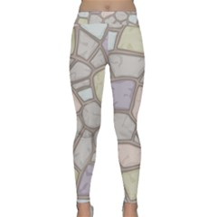 Cartoon Colored Stone Seamless Background Texture Pattern Classic Yoga Leggings by BangZart