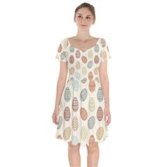 Seamless Pattern Colorful Easter Egg Flat Icons Painted Traditional Style Short Sleeve Bardot Dress by BangZart