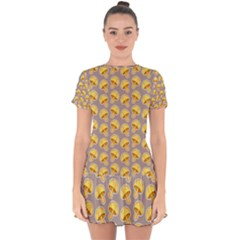 Yellow Mushroom Pattern Drop Hem Mini Chiffon Dress