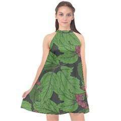 Seamless Pattern With Hand Drawn Guelder Rose Branches Halter Neckline Chiffon Dress