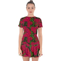 Seamless Pattern With Colorful Bush Roses Drop Hem Mini Chiffon Dress by BangZart