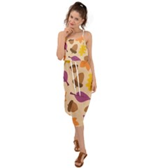 Seamless Verson Of Fal Pattern Waist Tie Cover Up Chiffon Dress