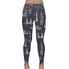 Nyc Pattern Classic Yoga Leggings by Bejoart