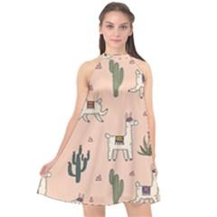 Llamas Pattern Halter Neckline Chiffon Dress  by Bejoart