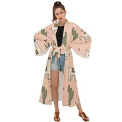 Llamas Pattern Maxi Kimono by Bejoart