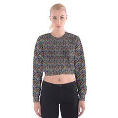 Seamless Prismatic Geometric Pattern With Background Cropped Sweatshirt by Bejoart