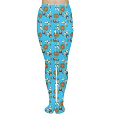 Clown Ghost Pattern Blue Tights