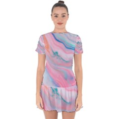 Colorful Marble Abstract Background Texture  Drop Hem Mini Chiffon Dress by Dushan