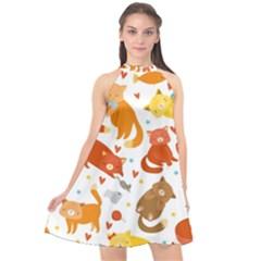 Seamless Pattern With Kittens White Background Halter Neckline Chiffon Dress