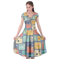 Pattern Postal Stationery Cap Sleeve Wrap Front Dress by Bejoart