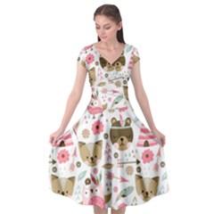 Pink Animals Pattern Cap Sleeve Wrap Front Dress
