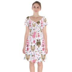 Pink Animals Pattern Short Sleeve Bardot Dress by Bejoart
