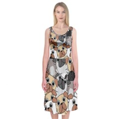 Many Dogs Pattern Midi Sleeveless Dress