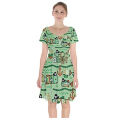Seamless Pattern Fishes Pirates Cartoon Short Sleeve Bardot Dress