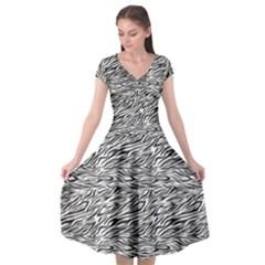 Zebra Pattern - Zebras And Horses - African Animals Cap Sleeve Wrap Front Dress