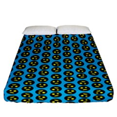 0059 Comic Head Bothered Smiley Pattern Fitted Sheet (california King Size) by DinzDas