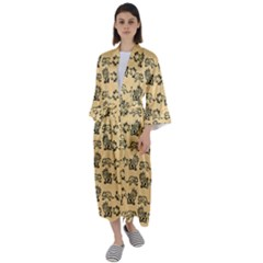 Inka Cultur Animal - Animals And Occult Religion Maxi Satin Kimono by DinzDas