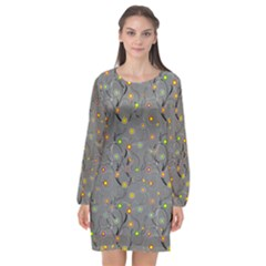 Abstract Flowers And Circle Long Sleeve Chiffon Shift Dress  by DinzDas