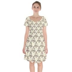 Abstract Flowers And Circle Short Sleeve Bardot Dress by DinzDas