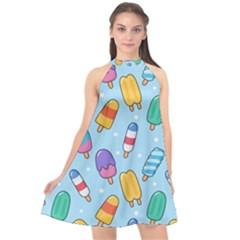 Cute-kawaii-ice-cream-seamless-pattern Halter Neckline Chiffon Dress  by Bejoart
