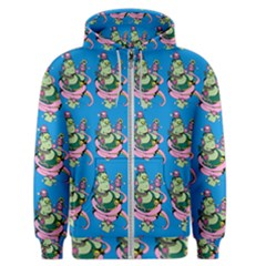 Monster And Cute Monsters Fight With Snake And Cyclops Men s Zipper Hoodie by DinzDas