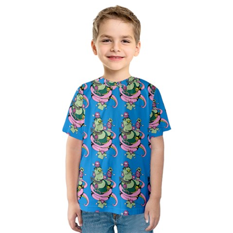 Monster And Cute Monsters Fight With Snake And Cyclops Kids  Sport Mesh Tee by DinzDas
