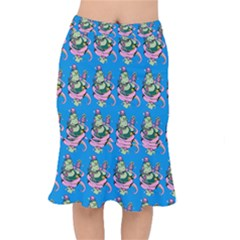 Monster And Cute Monsters Fight With Snake And Cyclops Short Mermaid Skirt by DinzDas