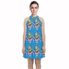 Monster And Cute Monsters Fight With Snake And Cyclops Velvet Halter Neckline Dress  by DinzDas
