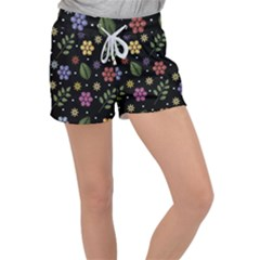 Embroidery-seamless-pattern-with-flowers Velour Lounge Shorts