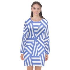 Geometric Blue And White Lines, Stripes Pattern Long Sleeve Chiffon Shift Dress  by Casemiro