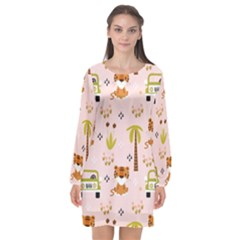 Cute Tiger Car Safari Seamless Pattern Long Sleeve Chiffon Shift Dress