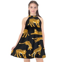Seamless Exotic Pattern With Tigers Halter Neckline Chiffon Dress  by Bejoart