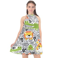 Seamless Pattern With Wildlife Cartoon Halter Neckline Chiffon Dress