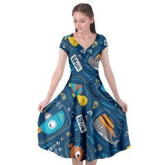 Seamless Pattern Vector Submarine With Sea Animals Cartoon Cap Sleeve Wrap Front Dress by Bejoart