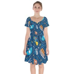 Seamless Pattern Vector Submarine With Sea Animals Cartoon Short Sleeve Bardot Dress