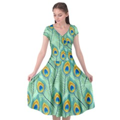 Lovely Peacock Feather Pattern With Flat Design Cap Sleeve Wrap Front Dress