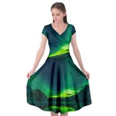 Iceland Aurora Borealis Cap Sleeve Wrap Front Dress by Bejoart
