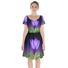 Floral Nature Short Sleeve Bardot Dress by Sparkle