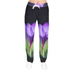 Floral Nature Women Velvet Drawstring Pants by Sparkle